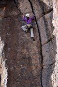 Rock Climbing Photo: Sarah nearing the top, at the wide crack.
