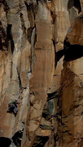 Rock Climbing Photo: Josh Cross remembering the original pitch...