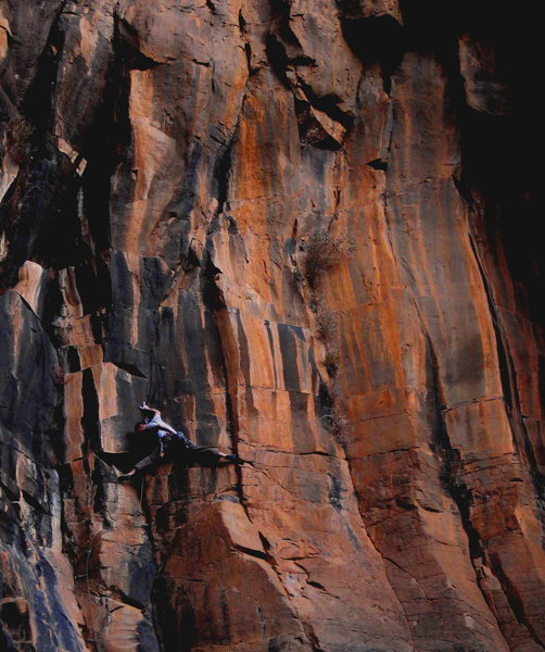 Matt Schwarz on some of the most technical climbing at the Waterfall?  With a setting sun...