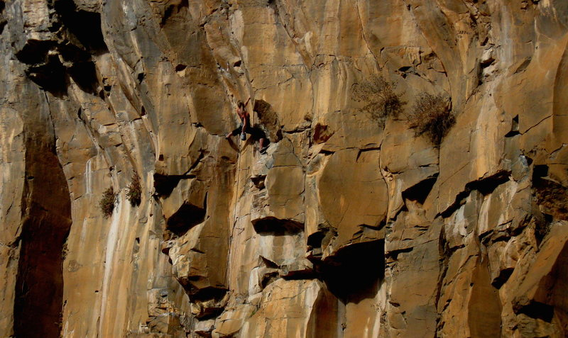 Rock Climbing Photo: Carrie giving the False Prophet 5.11 a reason to w...