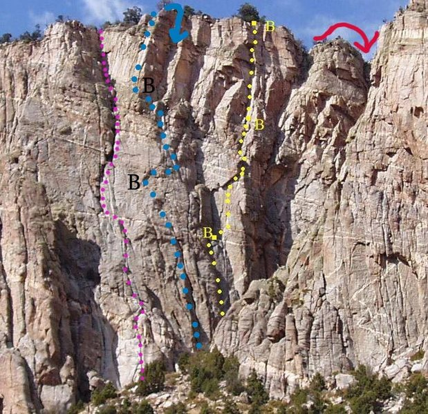 Rock Climbing Photo: Route is in blue.