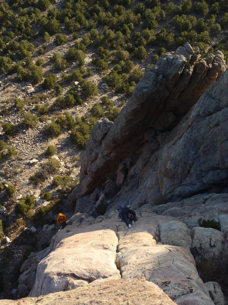 Rock Climbing Photo: Mike on the third pitch during the second ascent.