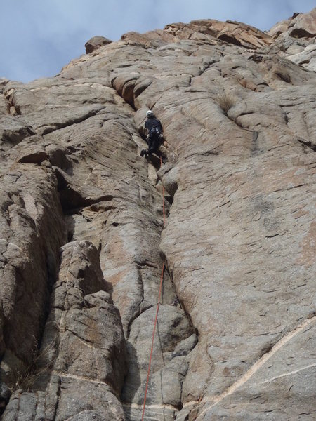 Me on the first pitch during the first ascent.