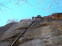 Rock Climbing Photo: Me hanging out after the crux, trying not to fall ...