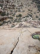 Rock Climbing Photo: Looking down the crack in the slab of pitch 3.