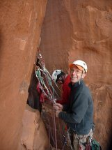 At the belay before the bolt ladder on Crooked Arrow Spire