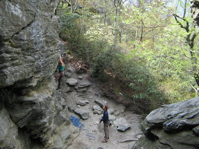 Rock Climbing Photo: One of the top rope climbs on the chimneys.