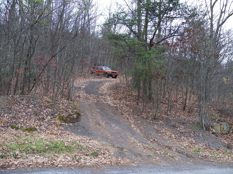 Gravel parking area for the drop