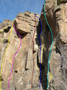 Rock Climbing Photo: Yellow - This Bolt's For You. Pink - Chillin' and ...