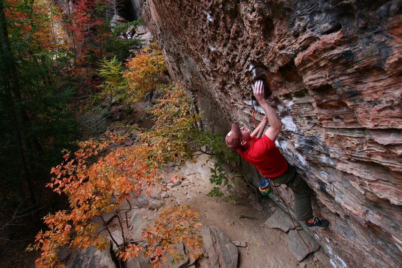 Rock Climbing Photo: Shaun trying Wild Gift, fall 2010.