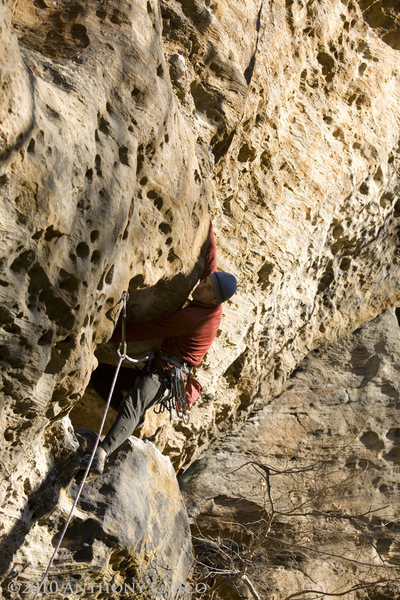 Rock Climbing Photo: Exiting the hueco on Supafly. photo by Anthony Car...