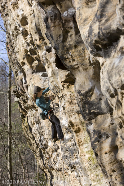 Rock Climbing Photo: Janelle on Green Horn. photo by Anthony Carco