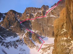 Rock Climbing Photo: Route map, April conditions, 2006.