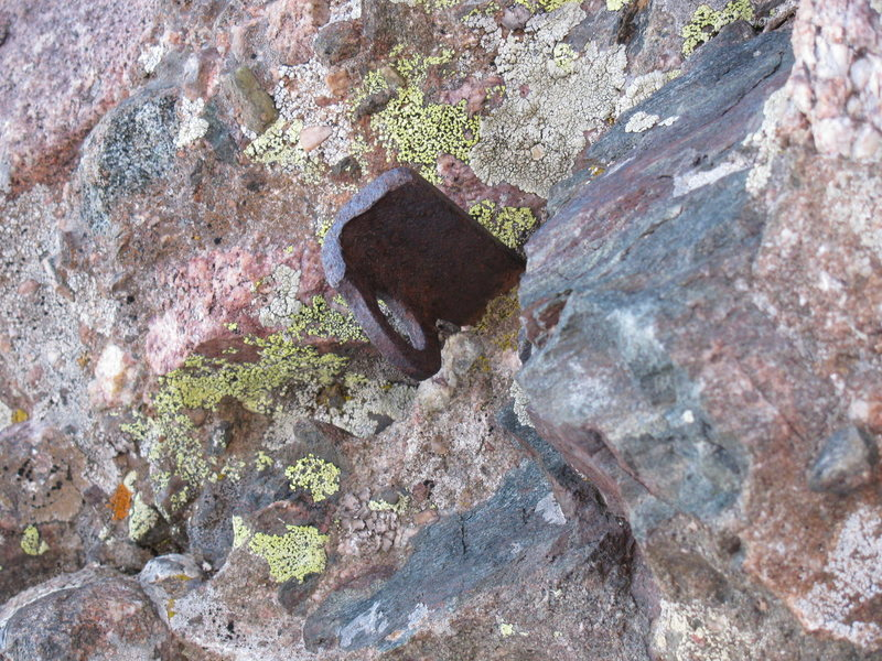 Rusty old pin on the final stretch to the summit of Crestone Needle from South side.