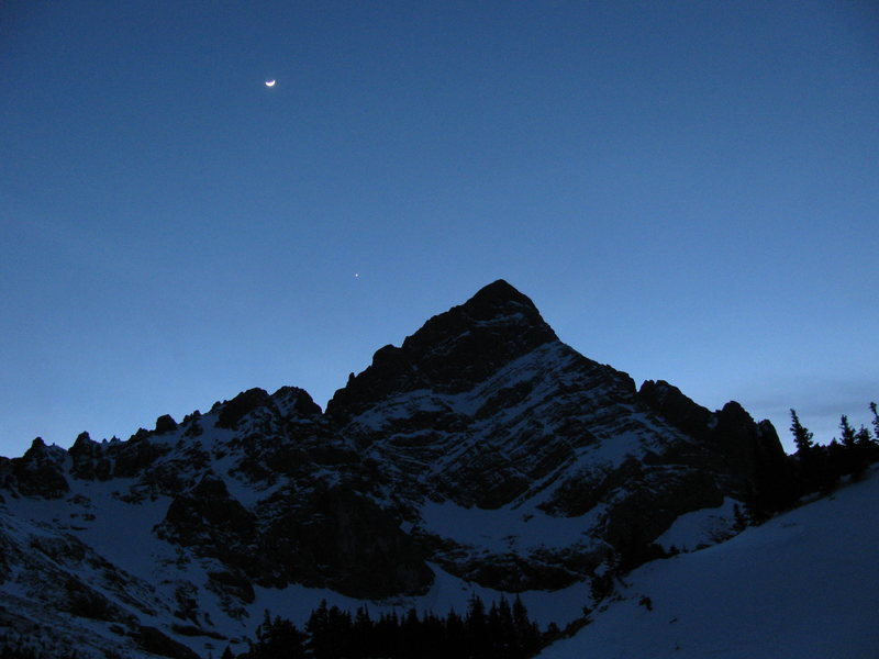 Crestone Needle in Winter dusk, 02/27/09.