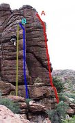 Rock Climbing Photo: Recession Arete is drawn in blue and labeled &quot...
