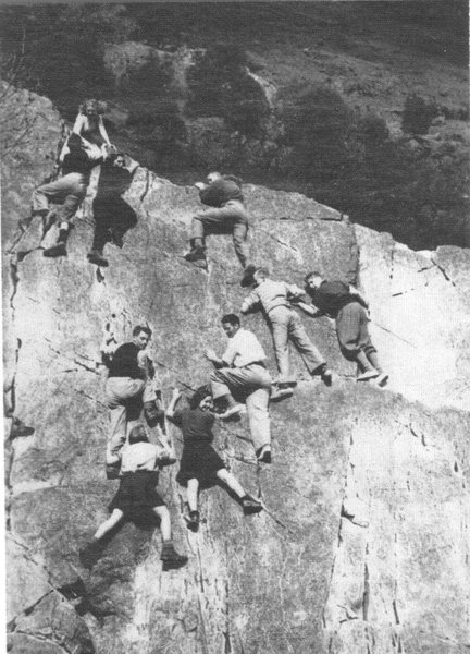 Part of Seathwite boulders.(Flight of the Hairy Fairies). This is how bouldering was treated around 1939 ,well before mattresses, chalk, climbing shoes,and BS,.... and well before anyone could imagine that it would become connected to the hobby of real climbing.What next. Note the lady lower left with the trouser pull V6 move