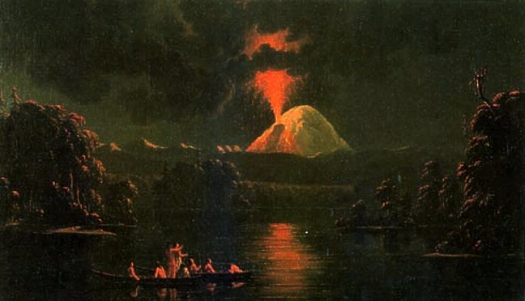 Painting by Paul Kane Mount St. Helens erupting at night after his 1847 visit to the area.<br> Wikipedia photo.