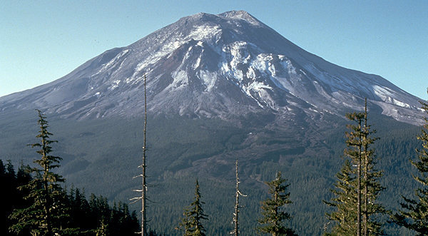 Mount St. Helens the day before the 1980 eruption, which removed much of the northern face of the mountain, leaving a large crater.<br> Wikipedia photo.