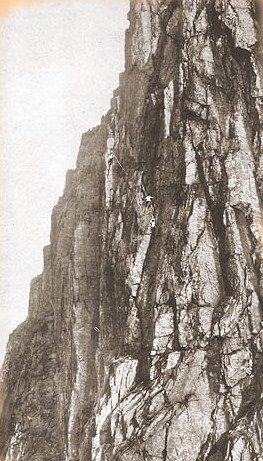 Climbers on the Central Buttress route 5.9 in 1920.