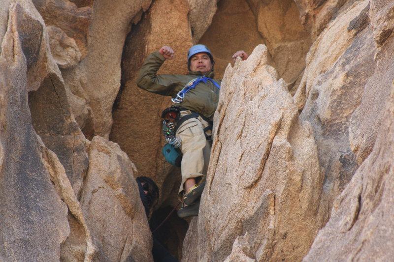 Rock Climbing Photo: Albert on the Eye on Cyclops Rock. Looking very im...