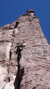 Rock Climbing Photo: DAS through the crux of Shmotem Pole, Arjun on top...