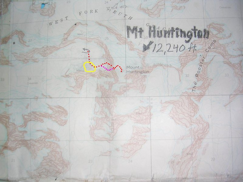 West Face Couloir, Mount Huntington<br> contour interval:  100 feet<br> grid squares are 1 kilometer<br> <br> Red squares - West Face Couloir<br> Lavender squares - Harvard Route<br> Yellow line - serac avalanche zone<br> Pencil arrow - landing zone<br>