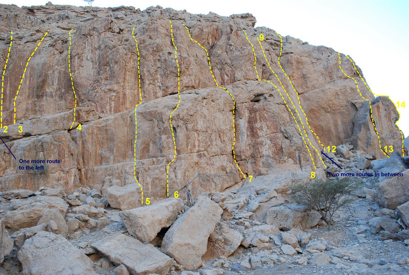 "This is a topo of the routes. There are 3 more route here not shown in the picture. ""Dee's Dilemma"" follows the short steep crack to the left of route number 2. ""Asolo"" and ""True Grit"" are in the area in between routes 9 and 10."
