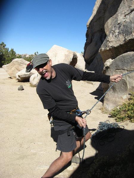 Rock Climbing Photo: Her crazed belayer.