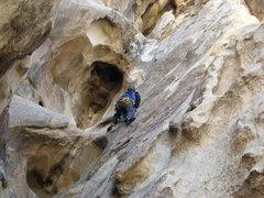 Rock Climbing Photo: Agina leading The Eye on Cyclops.