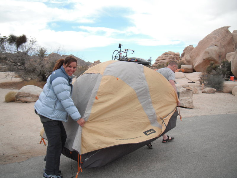 Changing campsites.