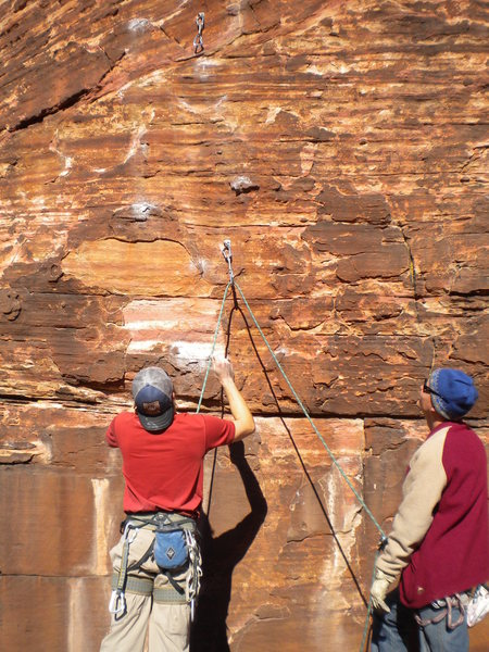 Mase and Paul sizing up the crux...that small crimp right below draw.