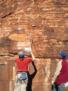 Rock Climbing Photo: Mase and Paul sizing up the crux...that small crim...