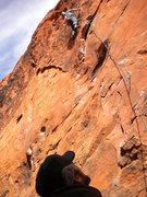 Rock Climbing Photo: Ken E flying on Burros
