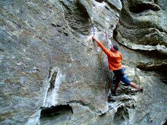 Rock Climbing Photo: Dan setting up for the crux, fall 2006