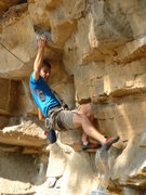 Rock Climbing Photo: Dan on the slopy/blocky holds that mark Intimidato...
