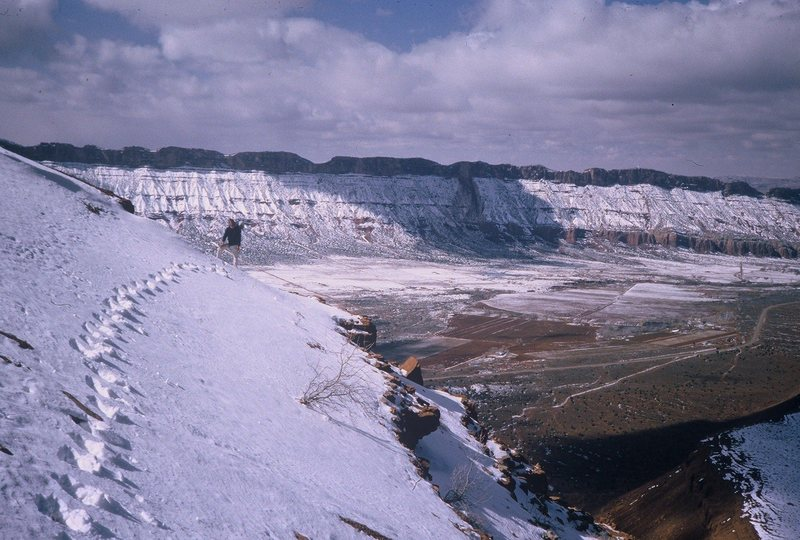 Another rockfall on Porcupine Rim (in cloud shadow) circa 1985.