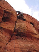 "Rock Climbing Photo: Mike, just past the cruxy ""5.12"" part on..."