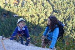 Rock Climbing Photo: Emma & mom near the top.