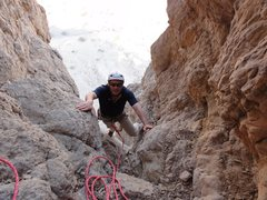 Rock Climbing Photo: Arriving at the belay station on second pitch. Mos...