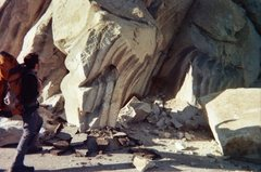 "Rock Climbing Photo: this rock apparently fell ""spike first"" ..."