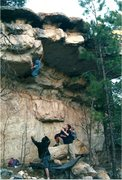 Rock Climbing Photo: A committed Victor Copeland reaches for the slopin...