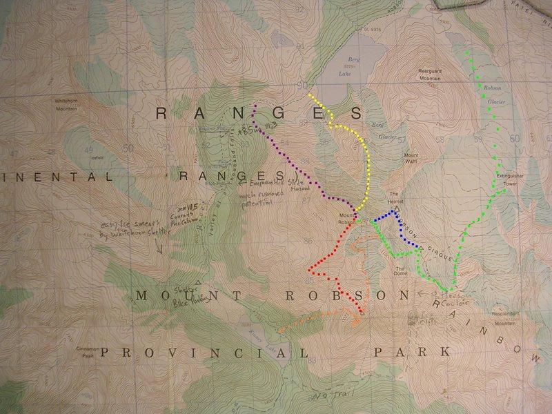 Mount Robson Climbing Routes<br> contour interval: 100 feet<br> one kilometer grid<br> <br> Red - Wishbone Arete<br> Orange - South Face/Schwartz Ledges<br> Yellow - North Face<br> Green - Kain Face<br> Blue - Fuhrer Ridge<br> Violet - Emperor Ridge