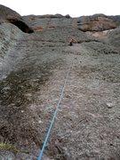 Rock Climbing Photo: 26-December-2009: Laura leading Corona (5.6)