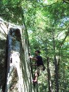 Rock Climbing Photo: Adam getting ready to reach the fingerlock.