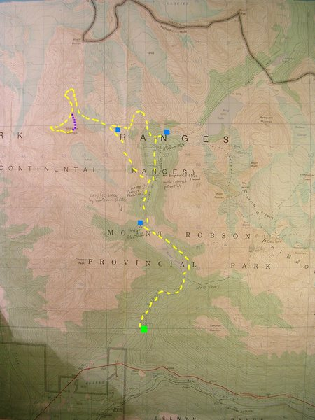 Mount Whitehorn Approach Map<br> contour interval:100 feet<br> one kilometer grid<br> <br> Yellow - West Ridge (standard)<br> Purple - North Ridge<br> Blue boxes - Bivouacs<br> Green Box - Traihead