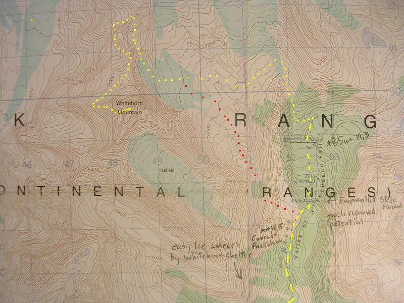 West Ridge, Mount Whitehorn<br> contour interval:  100 feet<br> one kilometer grid