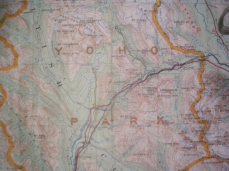 Old Yoho Map<br> contour interval: 250 feet<br> six mile grid<br> one inch = two miles