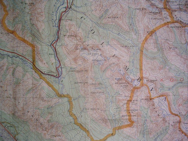 Rock Climbing Photo: Goodsir Mountain and Peaks contour interval: 250 f...
