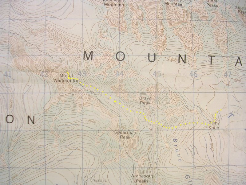 Bravo Glacier, Mount Waddington<br> contour interval: 40 meters<br> one kilometer grid<br> <br> Yellow - Bravo Glacier Route